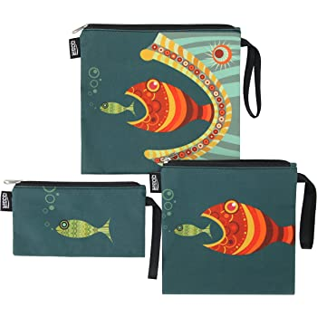 QOGiR Reusable Snack Bags Sandwich Lunch Bags with Handle(3 Pack) - Dishwasher Safe, BPA-free, Lead-free, Pvc-free (Fish)