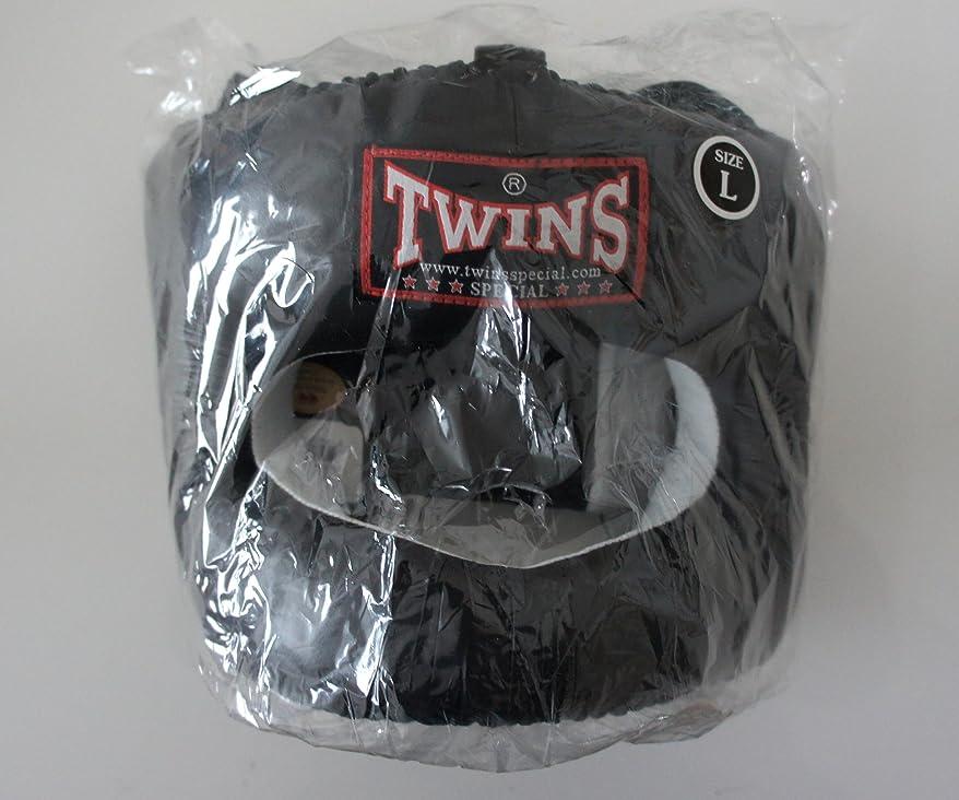 オペレーターベアリングショートカット新TWINS ツインズ 本革製 キックボクシング フルフェイス型 ヘッドギア ヘッドガード 黒 Lサイズ