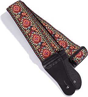 KLIQ Vintage Woven Guitar Strap for Acoustic and Electric Guitars | '60s Jacquard Weave Hootenanny Style | 2 Rubber Strap Locks Included, Nelson Red
