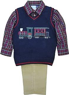 Toddler Boys 3 pc Sweater Set. Navy Sweater Vest with Big Train Applique, Khaki Corduroy Pants, Plaid Woven Shirt