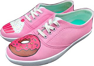 FUNKY N TRENDY Donut Theme Pink Hand Painted Waterproof Casual Canvas Shoes