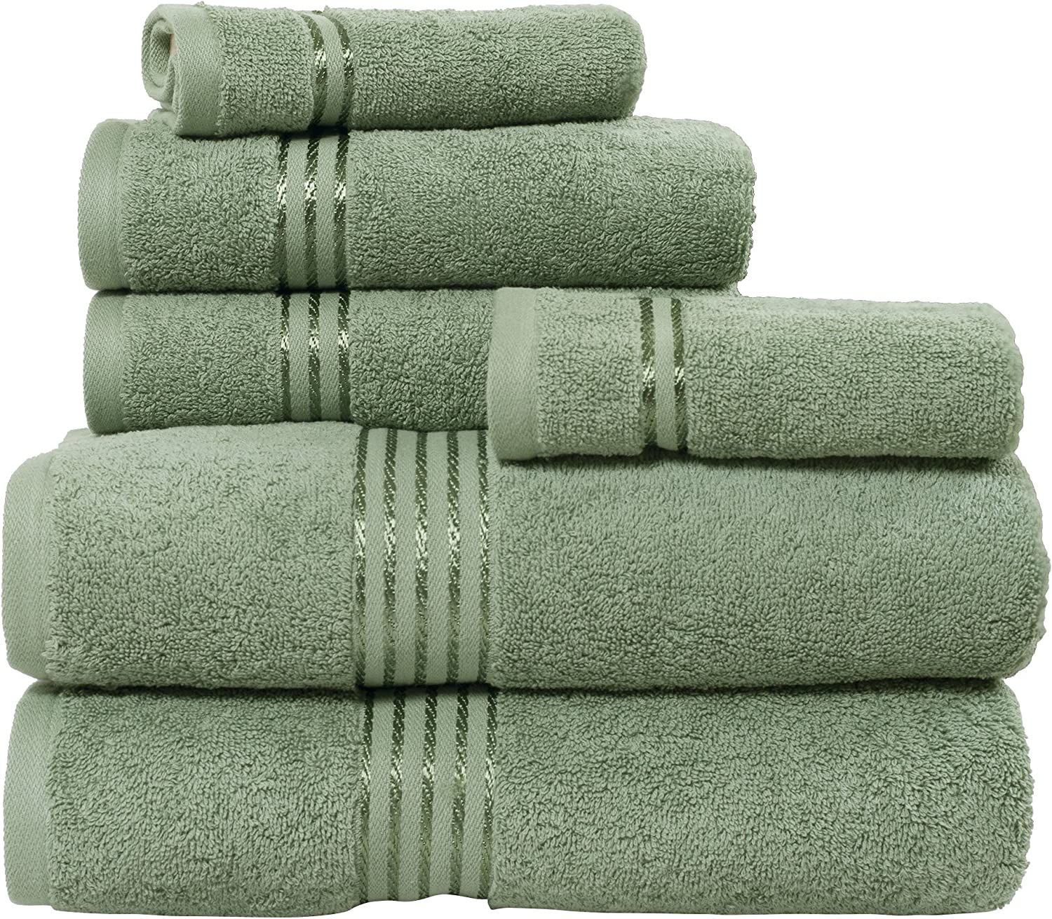 Lavish Genuine Home 100% Cotton Sales of SALE items from new works Hotel 6 Piece Set - Green Towel