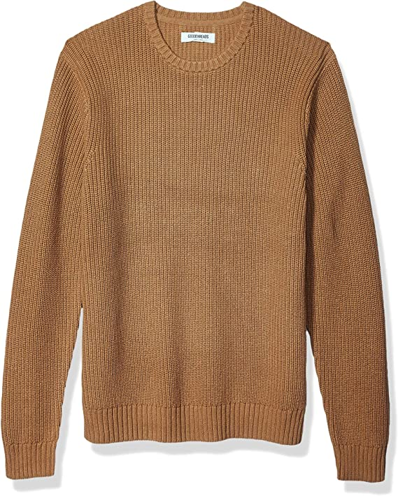 Men's Vintage Sweaters, Retro Jumpers 1920s to 1980s Goodthreads Mens Soft Cotton Rib Stitch Crewneck Sweater  AT vintagedancer.com