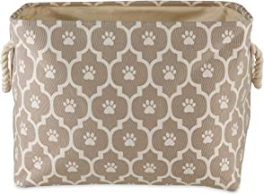 Bone Dry Pet Storage Collection Lattice Paw Print, Medium Rectangle, Stone