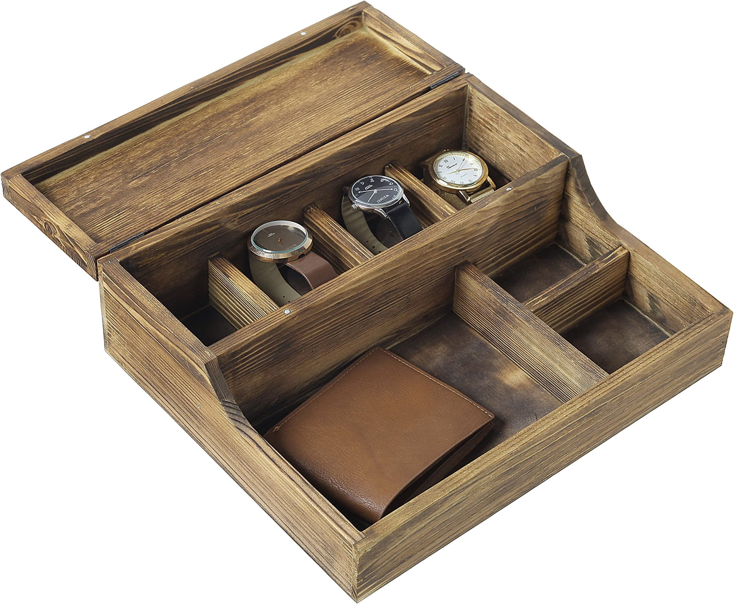 Grey Hand Painted Vintage Mens Valet Solid Wood Catchall Tray Gift For Father Dad Mens Dresser Box Phone Keys Desk Organizer OOAK