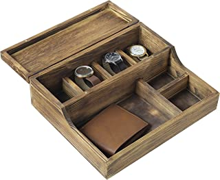 MyGift Rustic Brown Burnt Wood Tabletop Watch Case & Dresser Valet Tray