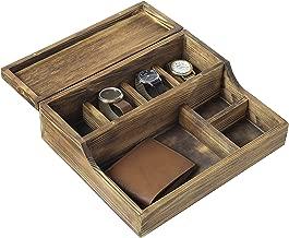 MyGift Rustic Brown Burnt Wood Tabletop Watch Case & Dresser Valet Tray