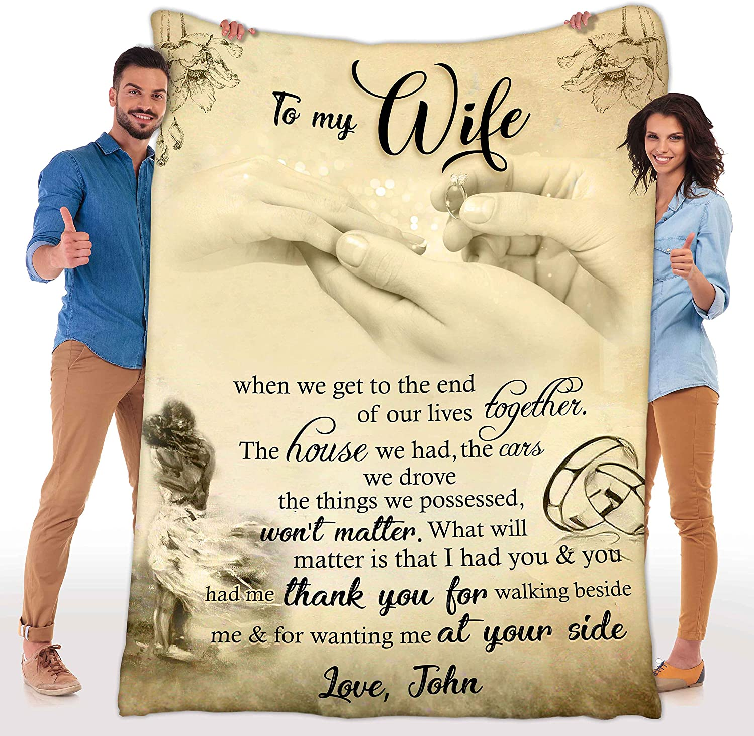 Customized Fleece Blankets for Max 52% OFF half Wife Gi with Best Name Husband's