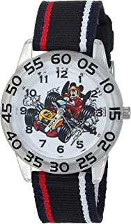 DISNEY Boys Mickey Mouse Analog-Quartz Watch with Nylon Strap, Black, 16 (Model: WDS000217