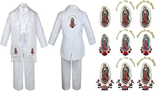 Baby Boy Teen Communion Tail Suit Gold Virgin Mary On Stole & The Back SM-20