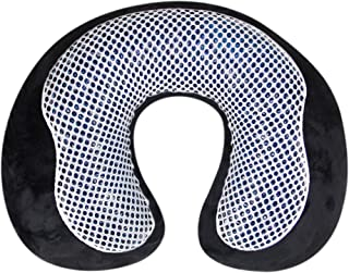 Cloudz Cool Gel Inflatable Travel Neck Pillow with Washable Zip-Off Plush Cover & Storage Pocket