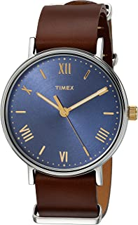 mens brown leather watch with blue face