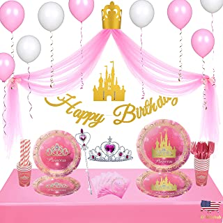 Kidohub Princess Party Theme 2 sets in 1: Birthday Princess Decorations Tulle Backdrop & Disposable Tableware Bundle Pack ...