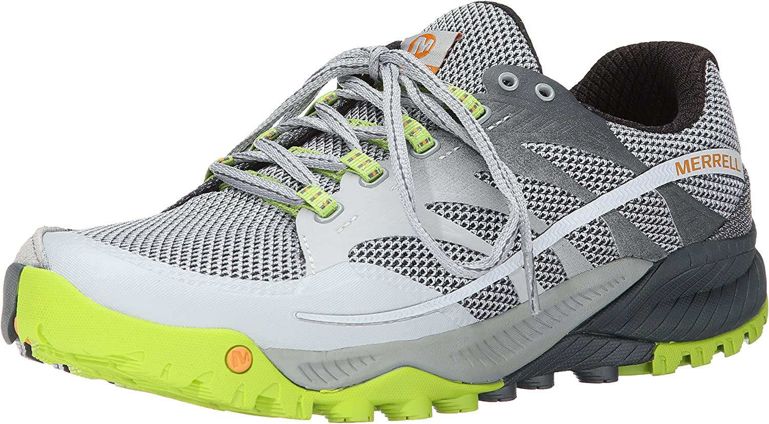 Merrell Men's All Out Charge Trail Running shoes, Grey Lime Green