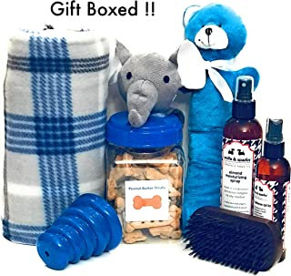 Wolfe & Sparky Gift Boxed Deluxe Blue Dog Gift Includes a Classy Dog Blanket, 2 Bottles of Wolfe & Sparky Natural Grooming Products, Healthy Peanut Butter Dog Treats, 2 Toys, and a Wooden Brush!!! …