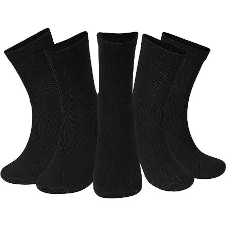 Kensington® 10 Pairs Men Sport Socks Size 6-11 Thick Cotton Cushion Crew Compression Ankle Large Pack For Under Trainer Blister Armour Black White Colour