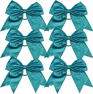 Cheerleader Bows Cheerleading 8 inch Sparkle Ponytail Holder Hair Tie Schoolfor High School College Girl Team Sports 6 Pcs … (Teal)