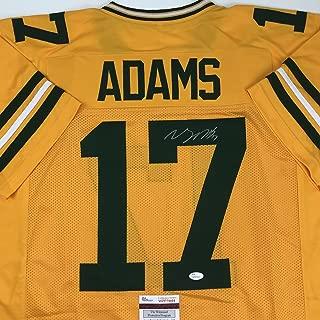 Autographed/Signed Davante Adams Green Bay Yellow Color Rush Football Jersey JSA COA