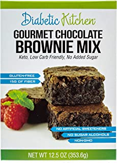 Diabetic Kitchen Gourmet Chocolate Brownie Mix Makes The Moistest, Fudgiest Brownies Ever Keto Friendly, Low-Carb, Gluten-Free, 15G Fiber, No Artificial Sweeteners or Sugar Alcohols (Regular Box)