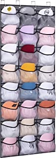 KEETDY 24 Fabric Over the Door Hat Organizer for Baseball Caps Hanging Hat Rack for Wall Elastic Large Mesh Pockets Cap Ho...