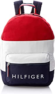 Tommy Hilfiger AM Patriot Colourblock Canvas Backpack, Navy Blazer/Chili Pepper/Classic White