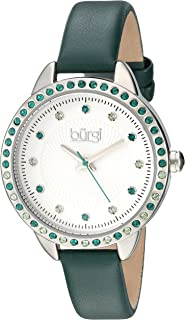 Burgi Swarovski Crystal Accented Women's Watch with Genuine Leather Skinny Strap – Studded Bezel and Dial with Embossed Pattern BUR161