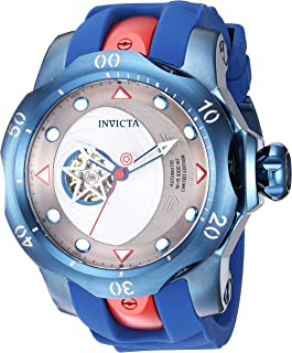 Men's Marvel Stainless Steel Automatic-self-Wind Watch with Silicone Strap, Blue, 26 (Model: 26062)