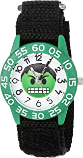 Marvel Boys Emoji Analog-Quartz Watch with Nylon Strap, Black, 16 (Model: WMA000074)
