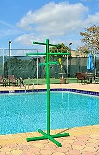 Pool & Spa Towel Rack Green Premium Extra Tall Towel Tree Outdoor PVC