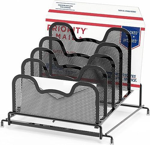 high quality SimpleHouseware outlet online sale Desk 5 discount Sections Step File Sorter Organizer, Black outlet sale