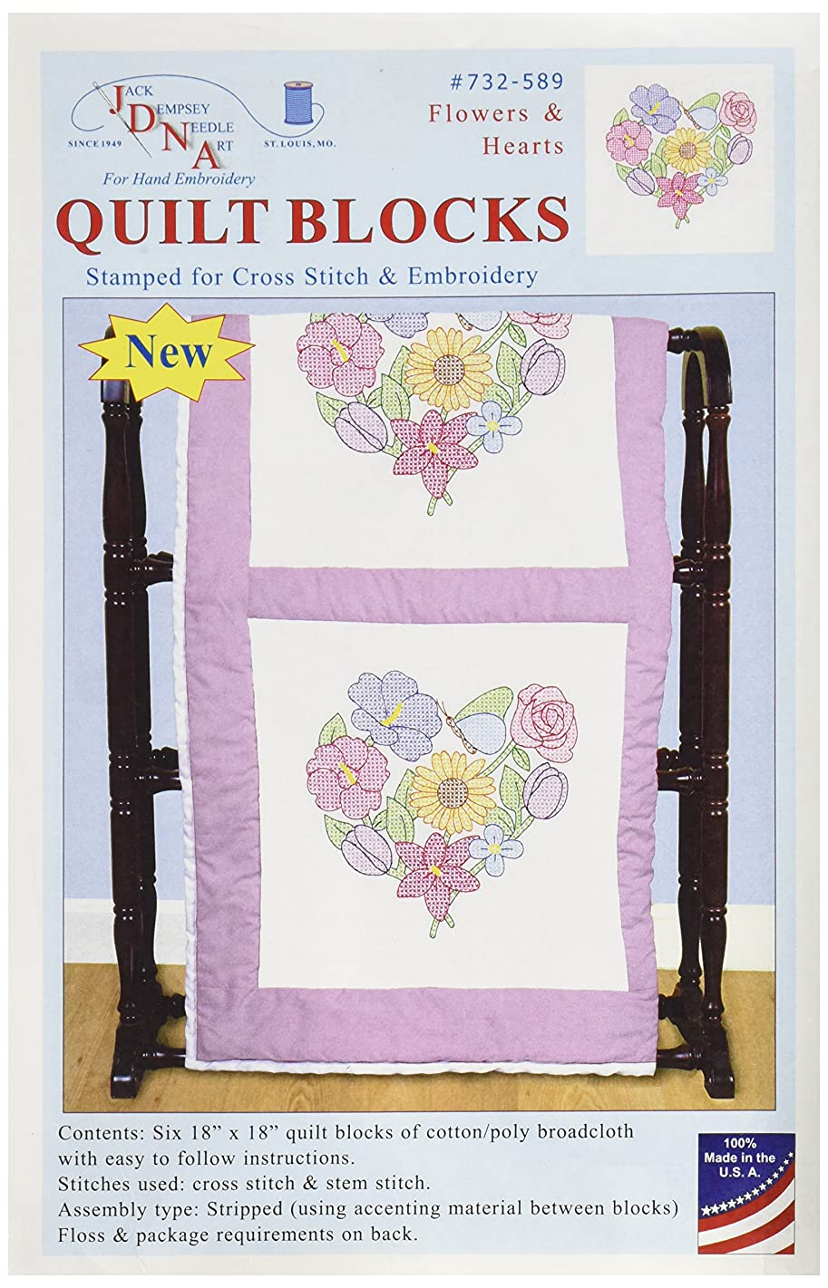 Jack Dempsey 732-589 Stamped Quilt Blocks (6 Pack), 18