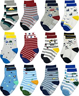 RB-71317 Non Skid Anti Slip Slipper Cotton Striped Crew Dress Socks with Grips for Baby Toddler Boys