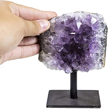 Rock Paradise Amethyst Cluster Stone on Metal Stand - Healing Crystals and Stones - Home Décor Accents - Chakra Stones