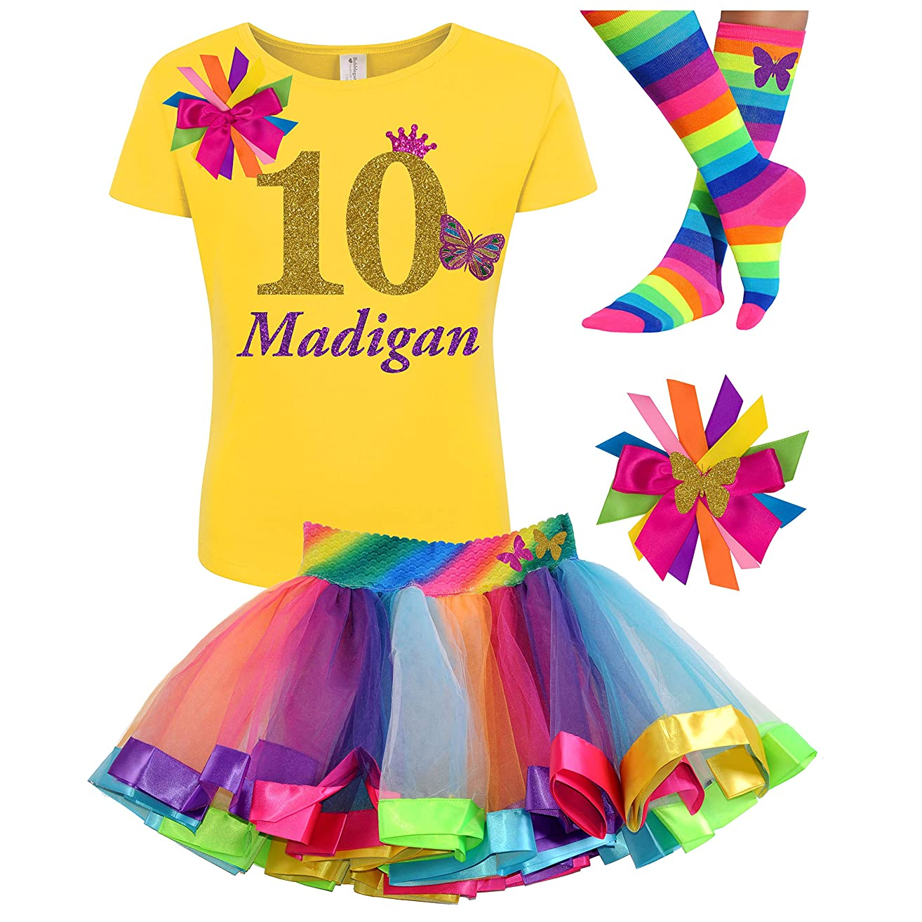 10th Birthday Girl Butterfly Outfit Gold 10 Yellow Shirt Rainbow Party Gift Set Personalized Name