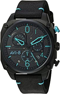 Men's Hawker Hunter Stainless Steel Japanese-Quartz Aviator Watch with Leather Strap, Black, 22 (Model: AV-4052-05)