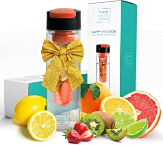 Savvy Infusion Flip Top Fruit Infuser Water Bottle – 24 Ounce – Unique Leak..