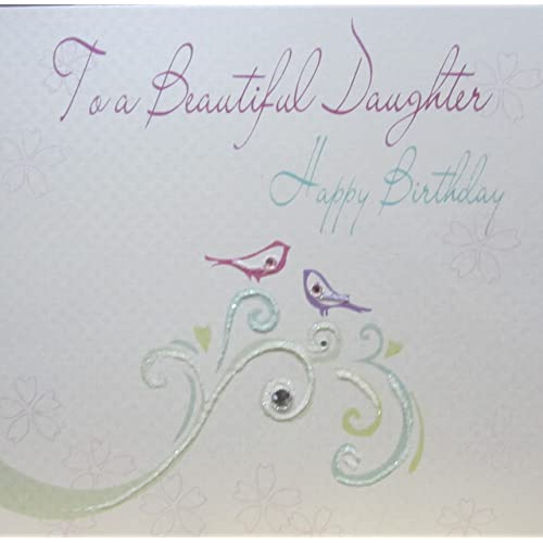 WHITE COTTON CARDS Handmade Birthday Card To A Beautiful Daughter White