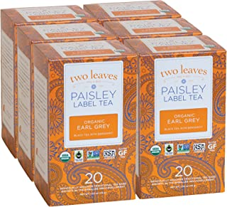 Paisley Label Tea by Two Leaves and a Bud Organic Earl Grey Black Tea Bags, 20 Count (Pack of 6) Organic Whole Leaf Full Caffeine Black Tea in Biodegradable Paper Teabags, Drink Hot or Iced