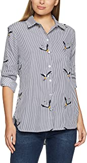 French Connection Women's Embroidered Bird Stripe Shirt