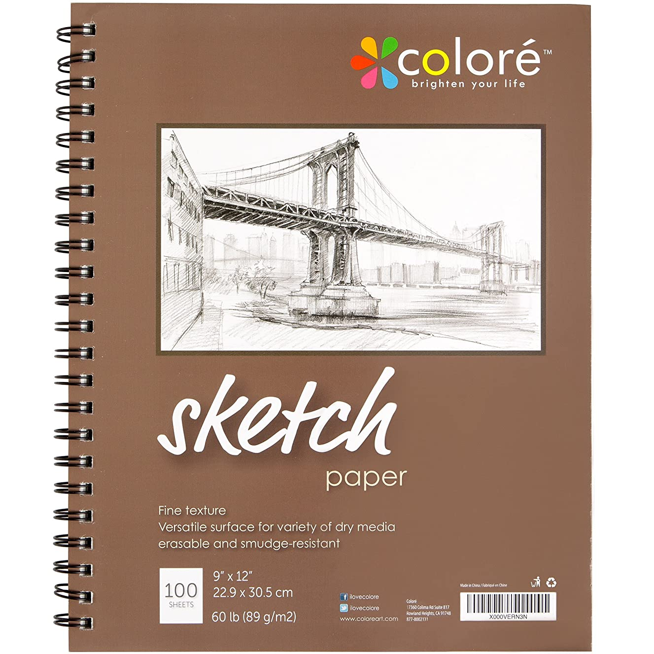 Colore Sketch Pad - Durable Sketching Paper And Notebook Material - Great For Drawing With Colored Pencils - 9x12 Spiral Sketchbook - Perfect Art Book & Craft Supplies Set For Teens & Artists - 2 Pack