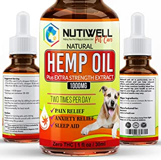 NutiWell Hemp Oil Dogs Cats - 1000 Mg Real Extract - Relieve Separation Anxiety, Joint Pain, Stress Relief, Arthritis, Chronic Pains, Anti-Inflammatory - Rich in Omega 3, 6, 9 - Natural Calming Drop
