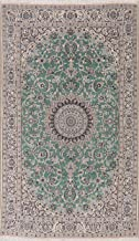 Vintage Persian Nain Floral Oriental Area Rug Hand-Knotted Green/Ivory Wool with Silk Highlight Carpet 4 x 7 (4' 2