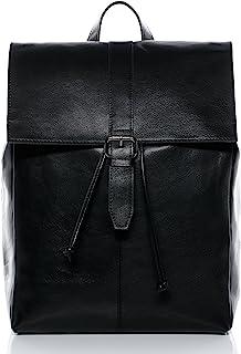 BACCINI Rucksack echt Leder Lisa groß Kurierrucksack Laptoprucksack Backpack Tagesrucksack Laptopfach 15.6 Lederrucksack Damen schwarz