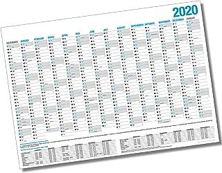 59,4 x42cm itenga Jahresplaner 2020 Wandkalender DIN A2 250g//m² gefalzt stabil