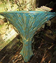 LARGE Wall Pocket, Wall Decor, Wall Hanging, Made in USA, Ethan Allen, Distressed Vintage Teal and Gold, Wheat Image, Hand Painted