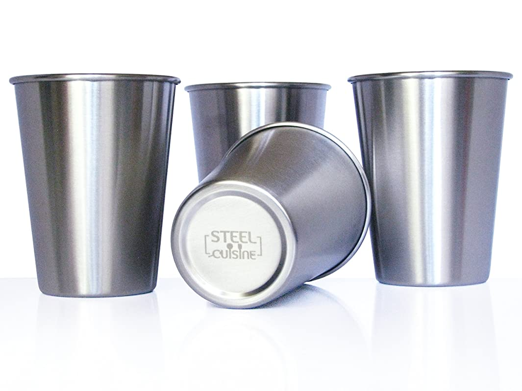 Steel Cuisine Stainless Steel Cups For Kids 10oz, Set of 4, Unbreakable, Eco-friendly, Dishwasher safe, BPA free (Silver)