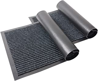 KAF Home Set of 2 Ribbed Door Mat | 17 x 30 Inches, Durable Indoor Outdoor Entry Way Rug | Perfect for Mud-Rooms, High Traffic Areas, Garages, Storefronts, and Everyday Home Use - Gray Black