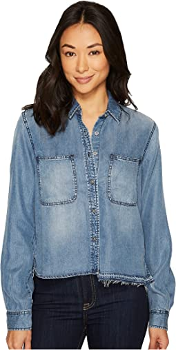 Step Hem Denim Shirt w/ Released Hem in Mineral Blue