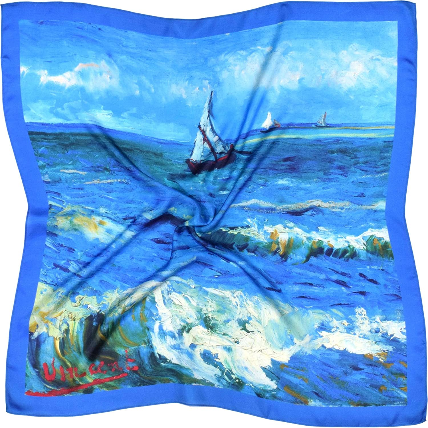 bluee White Seascape Printed Large Thick Silk Square Scarf