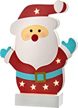 WeRChristmas Pre-Lit Colourful Santa Table Christmas Decoration, Wood, 24 cm - Multi-Colour